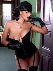 Domino in Natural Huge Melons in Corset Vintage Look